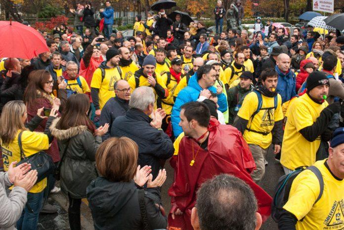 Entrada en Oviedo de la marcha de trabajadores de Alcoa